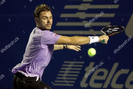 Stan Wawrinka of Switzerland in action against Ryan Harrison of the USA during their first round match at the Mexican Open tennis tournament in Acapulco, Mexico, 25 February 2019.