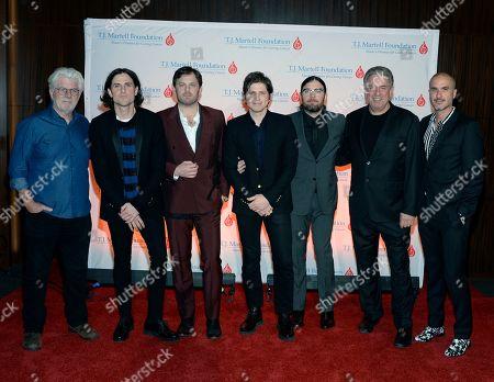Michael McDonald with King of Leon's Jared Followill, Caleb Followill, Matthew Followill, Nathan Followill, Ken Levitan Vector Mgmt and Apple Music's Zane Lowe