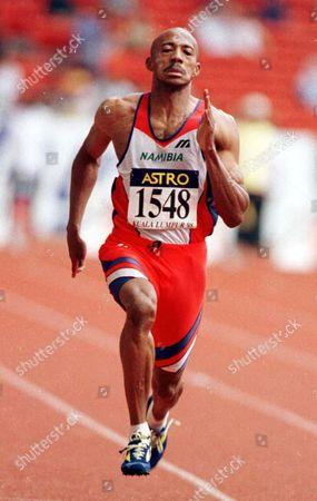 Commonwealth Games Kuala Lumpur Malasia 1998. Commonwealth Games Kl Frankie Fredericks Namibia .in 100 Mtr Heats (xxxx) . Rexmailpix.