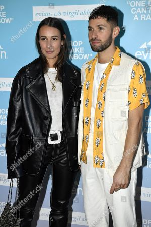 JS Roques (R) and Alice Barbier (L) arrive at the 'Rainbow inside' DJ's set party Evian c/o US designer Virgil Abloh held at the Palais de Chaillot during the Paris Fashion Week Women F/W 2019/20 in Paris, France, 25 February 2019. The presentation of the Women collections runs from 25 February to 05 March.