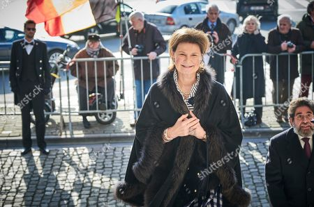 Stock Photo of Princess Margaretha of Liechtenstein arrives for a special Mass to commemorate the deceased members of the Belgian Royal Family