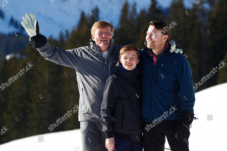 King Willem-Alexander of the Netherlands, Count Claus-Casimir and Prince Constantijn pose during a photo session in the Austrian skiing resort of Lech, Austria