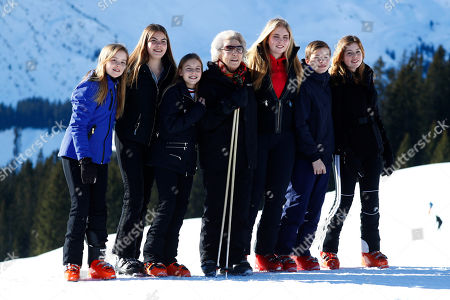 Princess Beatrix of the Netherlands, center, poses with Princess Alexia, Princess Ariane, Princess Amalia, Countess Leonore and Count Claus-Casimir and Countess Eloise pose during a photo session in the Austrian skiing resort of Lech, Austria