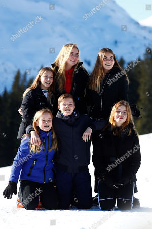 Stock Photo of Princess Alexia of the Netherlands poses with Princess Ariane, Princess Amalia, Countess Leonore and Count Claus-Casimir and Countess Eloise during a photo session in the Austrian skiing resort of Lech, Austria