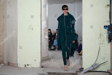 A model presents a creation from the Fall/Winter 2019/20 Women collection by French designer Pierre Kaczmarek and Italian designer Elena Mottola for Afterhomework during the Paris Fashion Week, in Paris, France, 26 February 2019. The presentation of the Women collections runs from 25 February to 05 March.