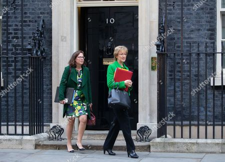 Andrea Leadsom, Leader of the House of Commons, Lord President of the Council, and The Rt Hon Baroness Evans of Bowes Park, Leader of the House of Lords, Lord Privy Seal leave Downing Street after the weekly Cabinet meeting.