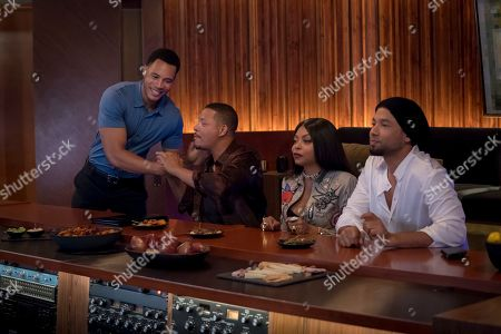 Stock Picture of Trai Byers as Andre Lyon, Terrence Howard as Lucious Lyon, Taraji P. Henson as Cookie Lyon and Jussie Smollett as Jamal Lyon