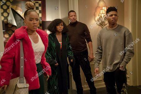 Serayah McNeill as Tiana Brown, Taraji P. Henson as Cookie Lyon, Terrence Howard as Lucious Lyon and Bryshere Y. Gray as Hakeem Lyon
