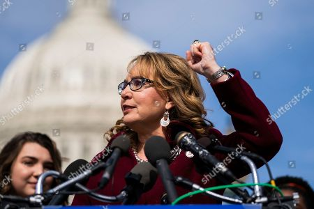 Former Democratic Representative from Arizona Gabby Giffords speaks on the bipartisan background checks bill in Washington, DC, USA, 26 February 2019. The legislation would require all gun sellers to perform background checks.