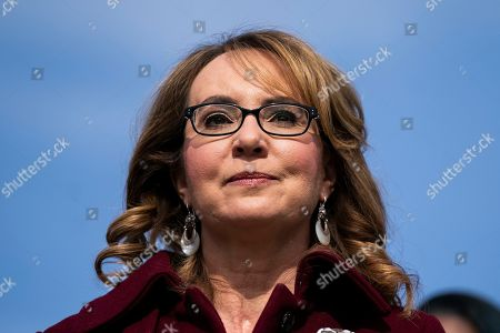 Former Democratic Representative from Arizona Gabby Giffords prepares to speak on the bipartisan background checks bill in Washington, DC, USA, 26 February 2019. The legislation would require all gun sellers to perform background checks.