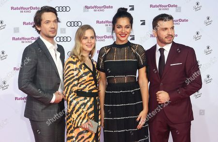 Marc Benjamin, Alicia Von Rittberg, Nilam Farooq and Edin Hasanovic attend the premiere of 'Rate Your Date' at the Sony Center in Berlin, Germany, 26 February 2019. The movie about the seemingly infinite possibilities offered by dating apps opens in German cinemas on 07 March.