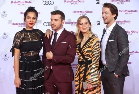 Nilam Farooq, Edin Hasanovic, Alicia Von Rittberg and Marc Benjamin attend the premiere of 'Rate Your Date' at the Sony Center in Berlin, Germany, 26 February 2019. The movie about the seemingly infinite possibilities offered by dating apps opens in German cinemas on 07 March.