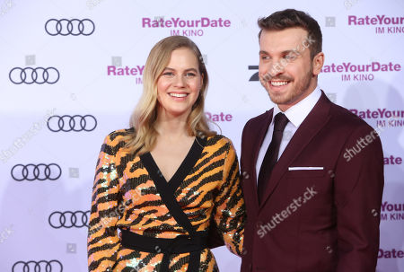 Alicia Von Rittberg (L) and Edin Hasanovic attend the premiere of 'Rate Your Date' at the Sony Center in Berlin, Germany, 26 February 2019. The movie about the seemingly infinite possibilities offered by dating apps opens in German cinemas on 07 March.