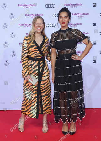 Alicia Von Rittberg (L) and Nilam Farooq attend the premiere of 'Rate Your Date' at the Sony Center in Berlin, Germany, 26 February 2019. The movie about the seemingly infinite possibilities offered by dating apps opens in German cinemas on 07 March.