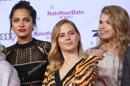 Nilam Farooq, Alicia Von Rittberg and Anke Engelke attend the premiere of 'Rate Your Date' at the Sony Center in Berlin, Germany, 26 February 2019. The movie about the seemingly infinite possibilities offered by dating apps opens in German cinemas on 07 March.