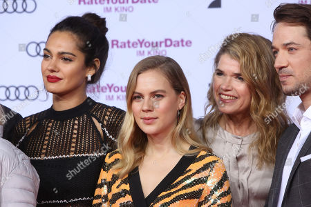 Nilam Farooq, Alicia Von Rittberg, Anke Engelke and Marc Benjamin attend the premiere of 'Rate Your Date' at the Sony Center in Berlin, Germany, 26 February 2019. The movie about the seemingly infinite possibilities offered by dating apps opens in German cinemas on 07 March.