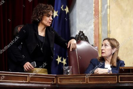 Spanish Lower Chamber Speaker Ana Pastor (R) speaks to Parliamentary spokesperson of People's Party (PP) Dolors Montserrat (L), during the last Spanish Lower House plenary session of the current legislature at the Lower Chamber of Spanish Parliament ahead of an early general election, in Madrid, Spain, 26 February 2019. The general election will be held on 28 April 2019.