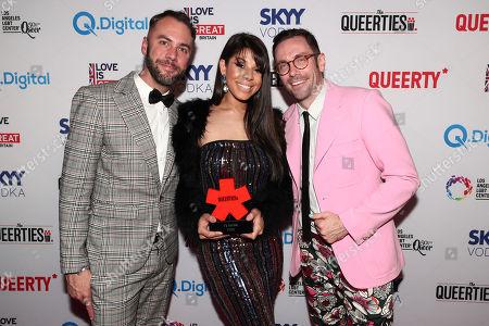 "John Halbach, Hailie Sahar, winner of the TV Series Queerty Award - ""Pose"" and Kit Williamson"
