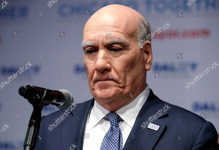 Stock Picture of Chicago mayoral candidate Bill Daley reacts as he speaks during an election night celebration in Chicago