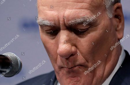 Stock Photo of Chicago mayoral candidate Bill Daley looks down as he speaks during an election night celebration in Chicago, . Daley concedes in the Chicago mayoral race, as Lori Lightfoot and Toni Preckwinkle emerge from a crowded field of 14 candidates and advance to a runoff on April 2