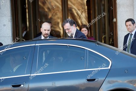 Stock Picture of Former Spanish Prime Minister Mariano Rajoy leaves the Spanish Supreme Court after testifying as witness in a new session of the trial of the so-called 'proces' case against 12 Catalan pro-independence politicians involved in the illegal referendum held back in 2017, in Madrid, Spain, 27 February 2019. Several witnesses, including former Prime Minister Mariano Rajoy, former Deputy Prime Minister Soraya Saenz de Santamaria and former Catalan regional President Artur Mas, are expected to testify later today.