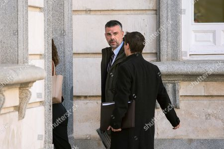 Defendant Santi Vila (C), former Catalan Business regional Minister, arrives to attend in a new session of the trial of the so-called 'proces' case against 12 Catalan pro-independence politicians involved in the illegal referendum held back in 2017, in Madrid, Spain, 27 February 2019. Several witnesses, including former Prime Minister Mariano Rajoy, former Deputy Prime Minister Soraya Saenz de Santamaria and former Catalan regional President Artur Mas, are expected to testify later  in the day.