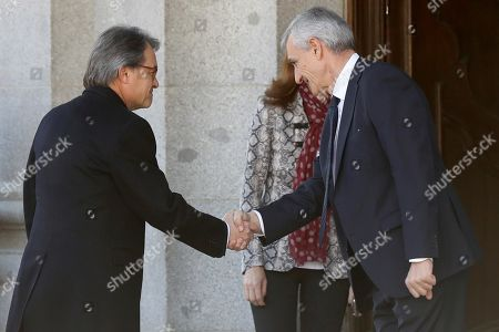 Former Catalan regional President Artur Mas (L) is welcomed upon his arrival in the Spanish Supreme Court to testify as witness in a new session of the trial of the so-called 'proces' case against 12 Catalan pro-independence politicians involved in the illegal referendum held back in 2017, in Madrid, Spain, 27 February 2019. Several witnesses, including former Prime Minister Mariano Rajoy, former Deputy Prime Minister Soraya Saenz de Santamaria and former Catalan regional President Artur Mas, are expected to testify later the day.