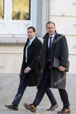 Spanish far-right VOX party's Secretary General Javier Ortega Smith (R) and party's Legal Deputy Secretary Pedro Fernandez (L) arrive in the Spanish Supreme Court to attend a new session of the trial of the so-called 'proces' case against 12 Catalan pro-independence politicians involved in the illegal referendum held back in 2017, in Madrid, Spain, 27 February 2019. Several witnesses, including former Prime Minister Mariano Rajoy, former Deputy Prime Minister Soraya Saenz de Santamaria and former Catalan regional President Artur Mas, are expected to testify later the day.