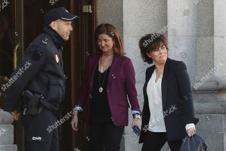 Former Spanish Deputy Prime Minister Soraya Saenz de Santamaria (R) arrives in the Spanish Supreme Court to testify as witness in a new session of the trial of the so-called 'proces' case against 12 Catalan pro-independence politicians involved in the illegal referendum held back in 2017, in Madrid, Spain, 27 February 2019. Several witnesses, including former Prime Minister Mariano Rajoy, former Deputy Prime Minister Soraya Saenz de Santamaria and former Catalan regional President Artur Mas, are expected to testify later in the day.