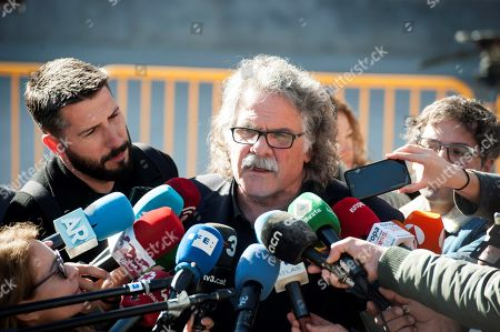 Catalan party ERC's MP Joan Tarda (C) talks to media outside the Spanish Supreme Court after he testified as witness in a new session of the trial of the so-called 'proces' case against 12 Catalan pro-independence politicians involved in the illegal referendum held back in 2017, in Madrid, Spain, 27 February 2019. Several witnesses, including former Prime Minister Mariano Rajoy, former Deputy Prime Minister Soraya Saenz de Santamaria and former Catalan regional President Artur Mas, are expected to testify later in the day.
