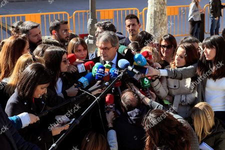 Former Catalan regional President Artur Mas (C) talks to media as he leaves the Spanish Supreme Court after he testified as witness in a new session of the trial of the so-called 'proces' case against 12 Catalan pro-independence politicians involved in the illegal referendum held back in 2017, in Madrid, Spain, 27 February 2019. Several witnesses, including former Prime Minister Mariano Rajoy, former Deputy Prime Minister Soraya Saenz de Santamaria, are expected to testify later in the day.
