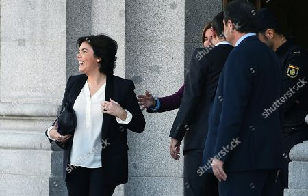 Former Spanish Deputy Prime Minister Soraya Saenz de Santamaria leaves Supreme Court after testifying before the court as a witness during a new session of the trial of the so-called 'proces' case against 12 Catalan pro-independence politicians involved in the illegal referendum held back in 2017, in Madrid, Spain, 27 February 2019. Nine of the 12 pro-independence leaders are accused of rebellion and embezzlement for their role in the Catalan illegal independence referendum back in 2017, while the other three accused face disobedience charges. More than 500 people have been called to declare, some of them former members of the Spanish Government such as former Prime Minister Mariano Rajoy.