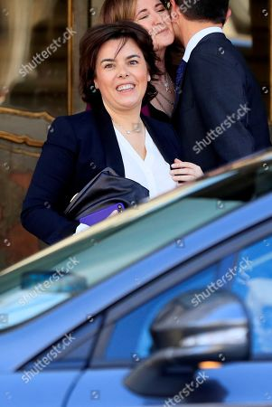Stock Image of Former Spanish Deputy Prime Minister Soraya Saenz de Santamaria leaves Supreme Court after testifying before the court as a witness during a new session of the trial of the so-called 'proces' case against 12 Catalan pro-independence politicians involved in the illegal referendum held back in 2017, in Madrid, Spain, 27 February 2019. Nine of the 12 pro-independence leaders are accused of rebellion and embezzlement for their role in the Catalan illegal independence referendum back in 2017, while the other three accused face disobedience charges. More than 500 people have been called to declare, some of them former members of the Spanish Government such as former Prime Minister Mariano Rajoy.