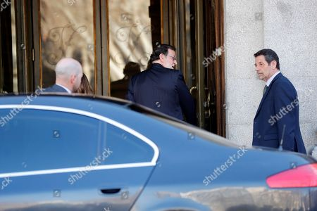 Former Spanish Prime Minister Mariano Rajoy is welcomed upon his arrival in the Spanish Supreme Court to testify as witness in a new session of the trial of the so-called 'proces' case against 12 Catalan pro-independence politicians involved in the illegal referendum held back in 2017, in Madrid, Spain, 27 February 2019. Several witnesses, including former Prime Minister Mariano Rajoy, former Deputy Prime Minister Soraya Saenz de Santamaria and former Catalan regional President Artur Mas, are expected to testify later today.