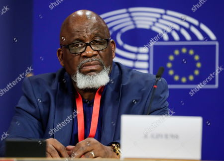 Jerry Givens, former executioner abolitionist activist from United States gives a press conference at the end of the 7th World Congress Against The Death Penalty - High-Level Conference at the European Parliament in Brussels, Belgium, 27 February 2019.