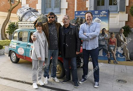 Susana Abaitua, Hovik Keuchkerian, Jean Reno, and Gerardo Olivares pose during the photocall for the presentation of the Spanish film '4 latas' (lit. '4 Cans') in Madrid, Spain, 27 February 2019. The film opens in Spanish cinemas on 01 March 2019