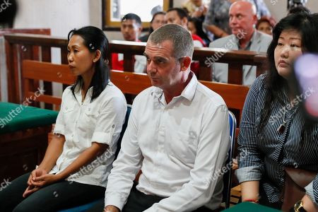 Brendon Luke Johnson (C) of Australia inside a court room during his verdict trial at Denpasar district court in Denpasar, Bali, Indonesia, 27 February 2019. Indonesian jugdes sentenced Brendon to five years and four month in jail for possession of 11.6 gram of cocaine.