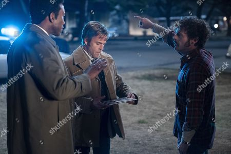 Stock Image of Mahershala Ali as Detective Wayne Hays, Stephen Dorff as Detective Roland West and Scoot McNairy as Tom Purcell