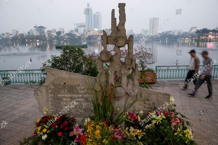 The John McCain monument marks the spot where McCain was pulled ashore from Lake Truc Bach after his war plane was shot down in October of 1967, in Hanoi, Vietnam, . The second summit between U.S. President Donald Trump and North Korean leader Kim Jong Un takes place in Hanoi Feb. 27 and 28