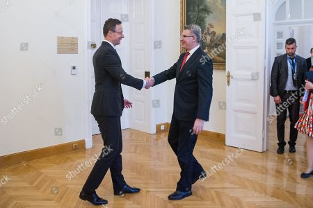 Hungarian Minister of Foreign Affairs and Trade Peter Szijjarto (L) receives Minister of Foreign Affairs of Malta, Carmelo Abela at the Minister of Foreign Affairs and Trade in Budapest, Hungary, 27 February 2019.