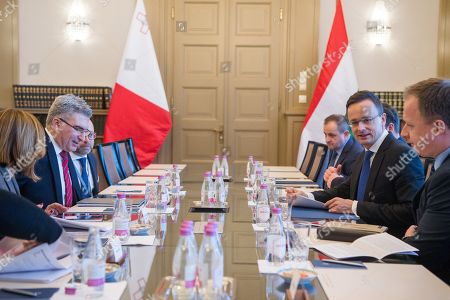 Hungarian Minister of Foreign Affairs and Trade Peter Szijjarto (2-R) and Minister of Foreign Affairs of Malta, Carmelo Abela (2-L) during their meeting at the Minister of Foreign Affairs and Trade in Budapest, Hungary, 27 February 2019.