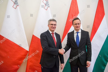 Hungarian Minister of Foreign Affairs and Trade Peter Szijjarto (R) receives Minister of Foreign Affairs of Malta, Carmelo Abela at the Minister of Foreign Affairs and Trade in Budapest, Hungary, 27 February 2019.