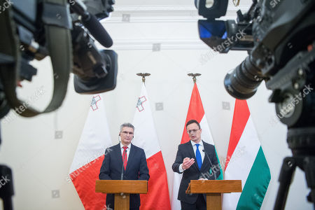 Hungarian Minister of Foreign Affairs and Trade Peter Szijjarto (R) and Minister of Foreign Affairs of Malta, Carmelo Abela hold a joint press conference at the Minister of Foreign Affairs and Trade in Budapest, Hungary, 27 February 2019.