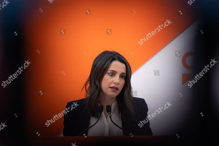 The national spokesperson and leader of the opposition in Catalonia, Ines Arrimadas Garcia speaking during a press conference