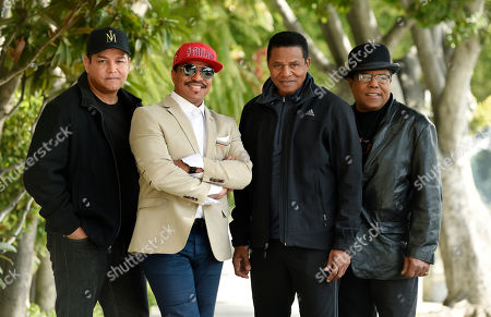 """Taj Jackson, Jackie Jackson, Tito Jackson, Marlon Jackson. Marlon Jackson, second from left, Jackie Jackson, second from right, and Tito Jackson, far right, brothers of the late musical artist Michael Jackson, and Tito's son Taj, far left, pose together for a portrait outside the Four Seasons Hotel, in Los Angeles. The brothers gave the first family interviews Tuesday on """"Leaving Neverland,"""" which features two Michael Jackson accusers and is set to air on HBO starting Sunday, March 3"""