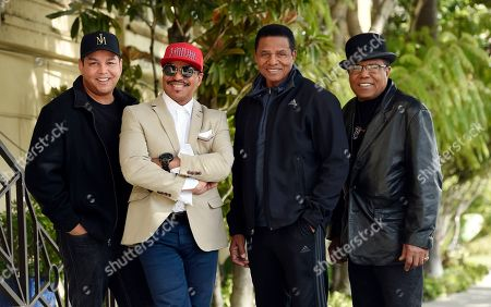 """Taj Jackson, Jackie Jackson, Tito Jackson, Marlon Jackson. Marlon Jackson, second from left, Jackie Jackson, second from right, and Tito Jackson, far right, brothers of the late singer Michael Jackson, and Tito's son Taj, far left, pose together for a portrait outside the Four Seasons Hotel, in Los Angeles. Jackson's brothers gave the first family interviews Tuesday on """"Leaving Neverland,"""" which features two Michael Jackson accusers and is set to air on HBO starting Sunday, March 3"""
