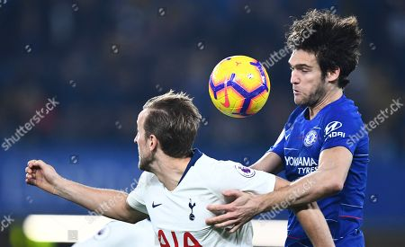 Marcos Alonso of Chelsea battles against Harry Kane of Tottenham Hotspur