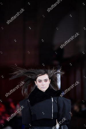 A model presents a creation from the Fall/Winter 2019/20 Women collection by Luis Buchinho during the Paris Fashion Week, in Paris, France, 27 February 2019. The presentation of the Women collections runs from 25 February to 05 March.
