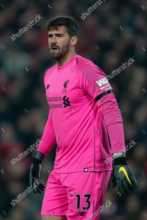 Liverpool's Alison Becker in action during todays match   Terry Donnelly/Mercury Press The Premier League - Liverpool v Watford - Wednesday 27th February 2019 - Anfield - Liverpool