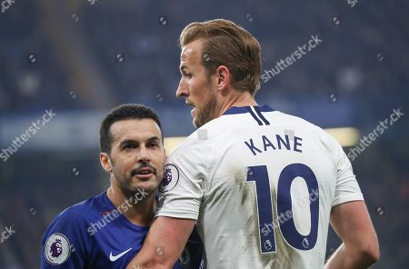 Harry Kane of Tottenham Hotspur  with Pedro of Chelsea